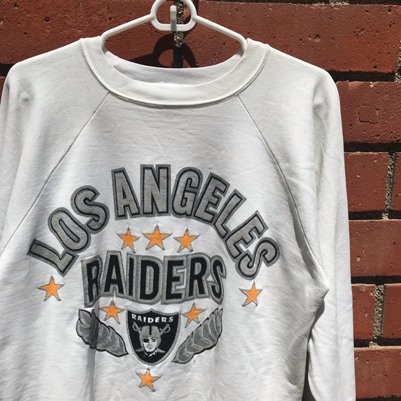 Vtg Los Angeles Raiders NFL White Crewneck Sweater